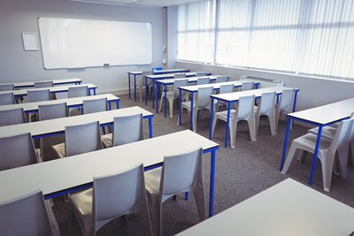 empty classroom at community college