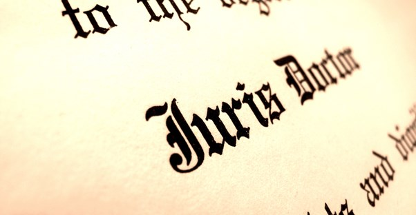 a close-up image of a juris doctor degree