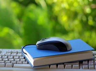 A mouse sits upon a book which sits upon a keyboard