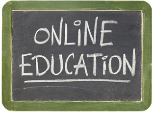 "Chalkboard that says ""online education"""