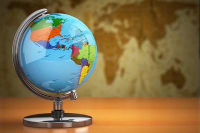 A globe in a classroom