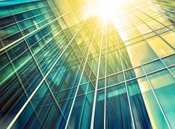Sun shines through a transparent building
