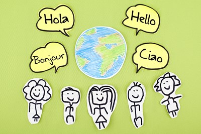 Drawings of kids speaking different languages