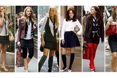 Blair Waldorf and Serena van der Woodsen show off their unique school uniform styles