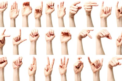 an online collage of all the letters of the alphabet in sign language to learn