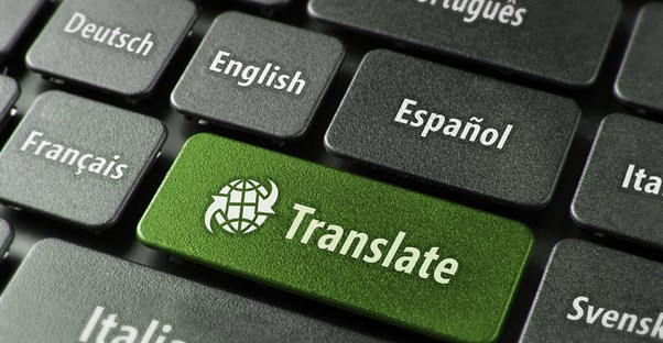 Green translate button on a keyboard