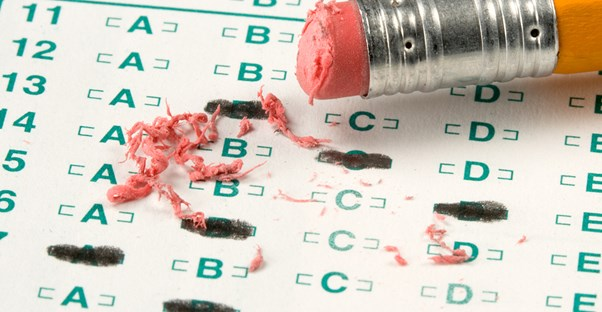 Student destroys the eraser on their pencil while taking a standardized test